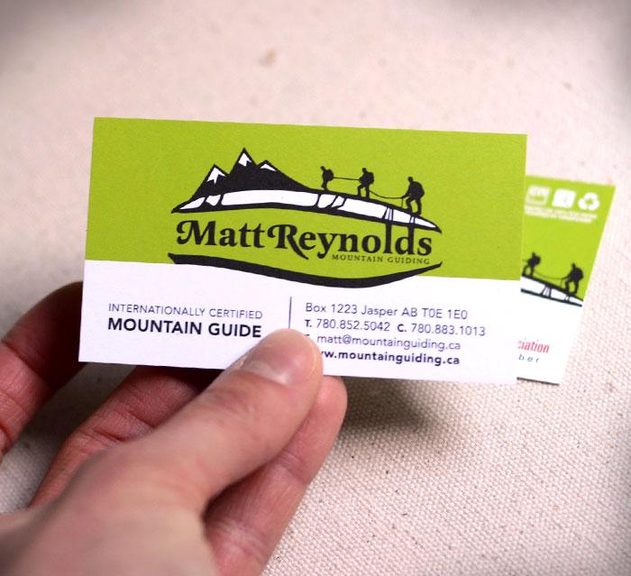 Matt Reynolds Mountain Guiding business card